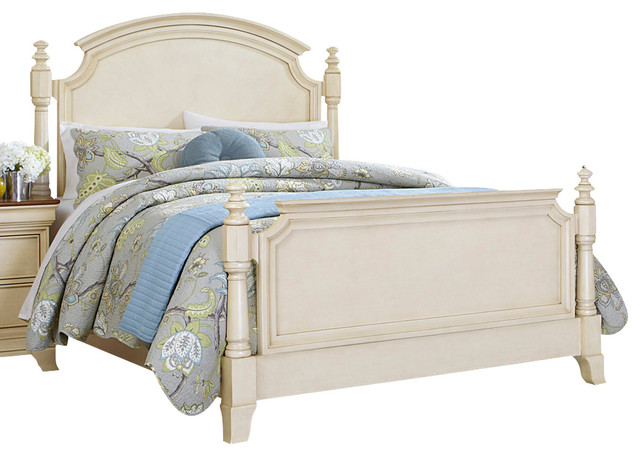 Homelegance Inglewood Ii Panel Poster Bed In Antique White Eastern King Traditional Panel