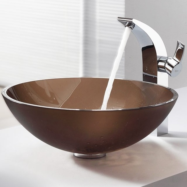 Brown Vessel Sink : ... Brown Glass Vessel Sink and Illusio Faucet contemporary-bathroom-sinks