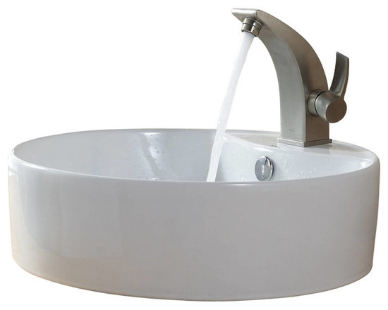 Kraus - Kraus C-KCV-142-14701BN White Round Ceramic Sink and Illusio Basin Faucet - Add a touch of elegance to your bathroom with a ceramic sink combo from Kraus
