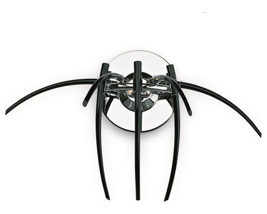 "Inviting Home - Black Modern Crystal Sconce - Modern black crystal sconce with furnace-molded crystal hooks; 27""W x 14""D x 16""H; assembly required; Modern black crystal sconce; Undreamt-of beauty emanates from austere shapes and their artful combination; all metal parts are chromium plated; genuine Czech crystal; ready to ship in 2 to 3 weeks; Lighting Vogue. The state-of-the-art techniques for working glass components enable us to create modern shapes typical of the contemporary lighting fixtures' design. Their body consists of plain mouth-blown components such as spatially shaped twisted and hand-decorated tubes or furnace-molded hooks. Design lighting fixtures based on the purity of execution and simple shapes are particularly suitable for illuminating all modern interiors. These sconces are manufactured using oxygen fuel technology. Only few manufacturers in Europe that use oxygen fuel technology. This allows for better control and manage the preparation process of glass. The result is impeccably pure glass of highest quality with minimal amount of visual irregularities. Every component passes thorough strict internal Quality Control processes. Highest quality European production with certified standards. UL approved - dry location; hardwire; 2x G4- 20W bulbs; bulbs not included. Made in Czech Republic"