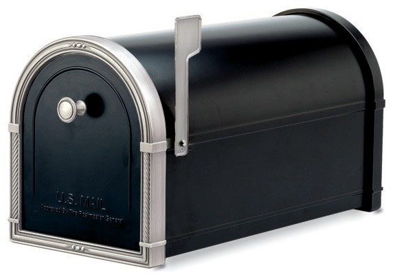 Coronado Post Mount Mailbox Black with Antique Nickel Accents traditional-mailboxes