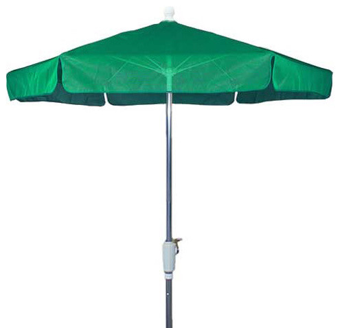 7.5 Foot Hexagonal Teal Base Bright Aluminium Garden Umbrella outdoor-umbrellas