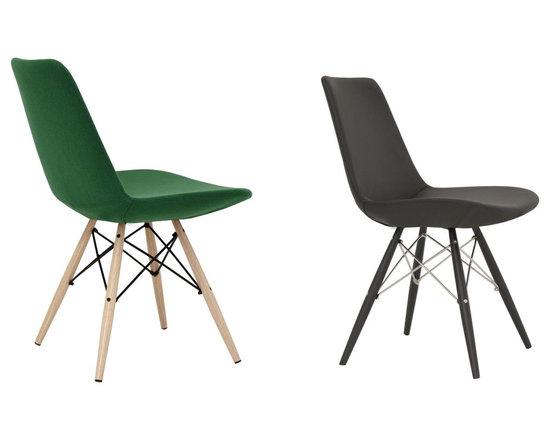 """SohoConcept - Eiffel MW Dining Chair by sohoConcept - Eiffel MW is a unique dining chair with a comfortable upholstered seat on a powder-coated steel frame. Each leg is tipped with a plastic glide screwed into the foot. Metal legs available with black powder, natural as well as stainles steel finishes. The seat has a steel structure with """"S"""" shape springs for extra flexibility and strength. This steel frame molded by injecting polyurethane foam. Eiffel seat is upholstered with a removable velcro enclosed leather, leatherette or wool fabric slip cover. This chair with metal legs especially created for commercial applications."""