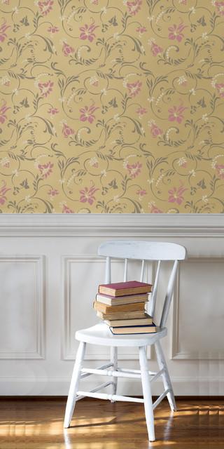 Small Flourish Allover Wall Stencil traditional-wall-stencils