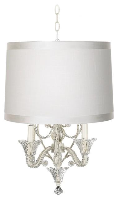 Traditional off white designer shade white beaded mini for Beaded chandelier lamp shades
