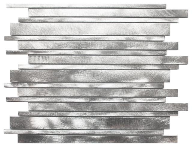 Long Random Bar Silver Aluminum Tile modern-tile