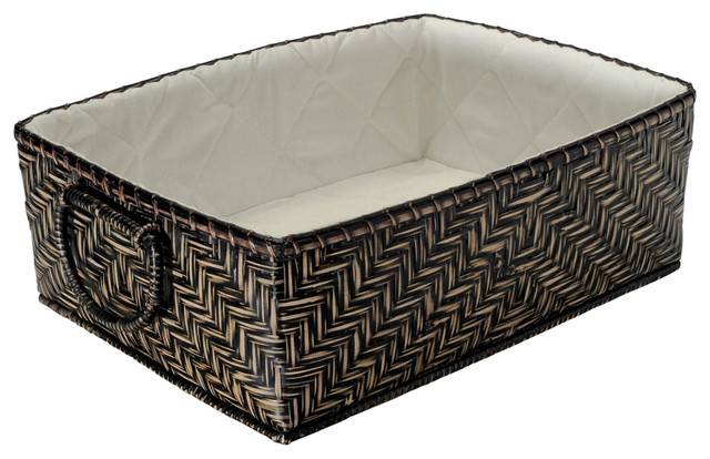 Large Bamboo Shelf Baskets with Cotton Liner, Black Stain - Contemporary - Baskets - other metro ...
