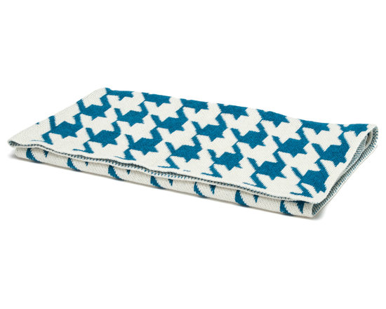"in2green - Eco Baby Houndstooth Throw, Teal/Milk - Our throws are all knit in the USA with a blend of recycled cotton yarn (74% recycled cotton yarn, 24% acrylic, 2% other), generously sized at 50"" x 60"" and machine wash and dry...how easy is that!"