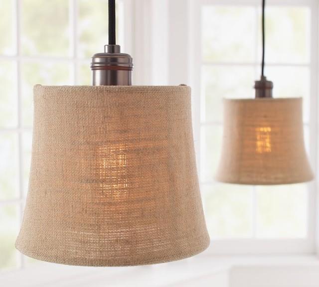 Pottery Barn Pendant Track Lighting : Burlap shade pendant track lighting contemporary