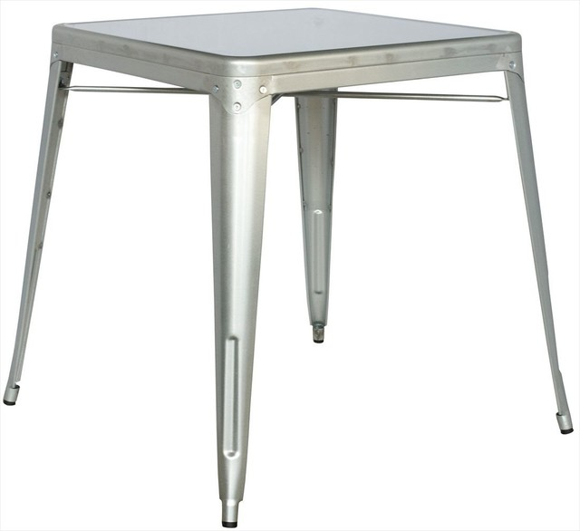 Alfresco galvanized steel dining table in shiny silver dining tables by modern furniture - Steel kitchen tables ...