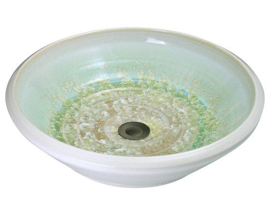 Indikoi Sinks LLC - SOHO: Vessel Mount Sink, Ivory Crystal White with Green - The Soho style is a low sleek vessel mount sink.