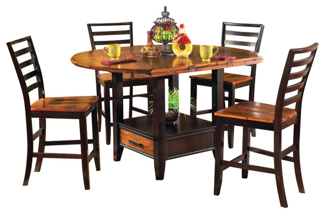 abaco 5 piece drop leaf 59 inch round counter height set dining sets