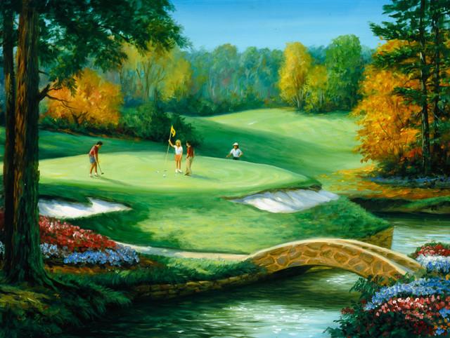 Golf Scenes Putting Wall Art Contemporary Wallpaper