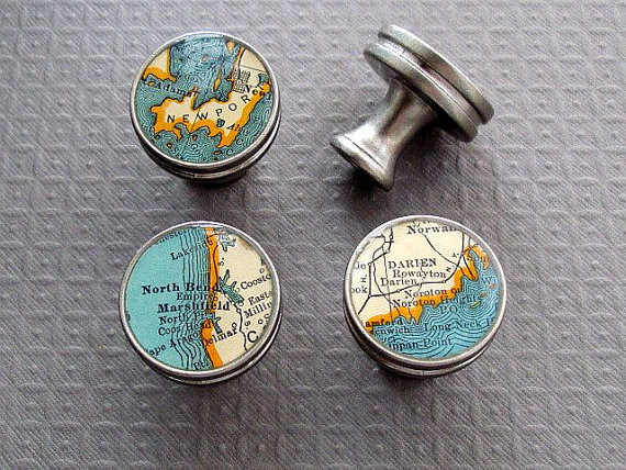 Map Drawer Pulls Handles Knobs, Brushed Nickel by Sherry Truitt Studios - Eclectic - Cabinet And ...