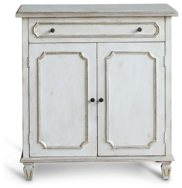 Royale French Country Antique Silver White Wash Nightstand Cabinet - Transitional - Storage ...