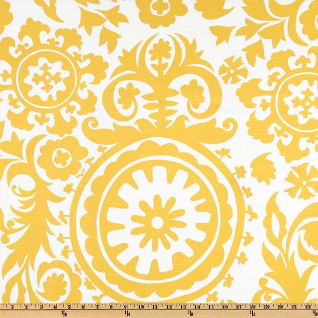 Premier Prints Suzani Slub, Yellow/White mediterranean upholstery fabric