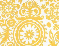 Premier Prints Suzani Slub, Yellow/White mediterranean-upholstery-fabric