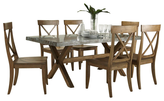 dining room set in medium wood and metal traditional dining sets