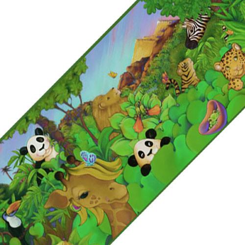 Cartoon Jungle Animals Prepasted Wallpaper Border Roll