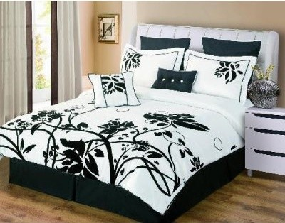 Luxury Home Chelsea Embroidered 8-Piece Comforter Set - Black / White modern-duvet-covers