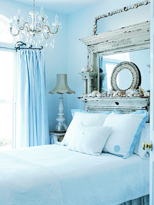 Blue eclectic bedroom