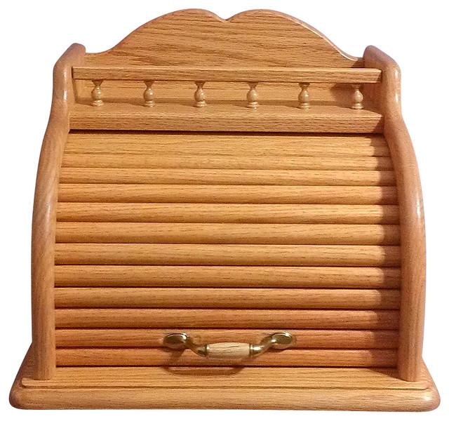 Roll Top Bread Box, Honey Oak - Traditional - Bread Boxes ...