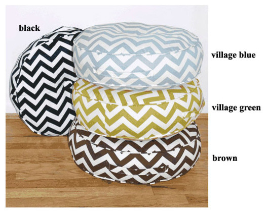 Zig Zag 20 Round Indoor and Outdoor Floor Pillow modern pillows