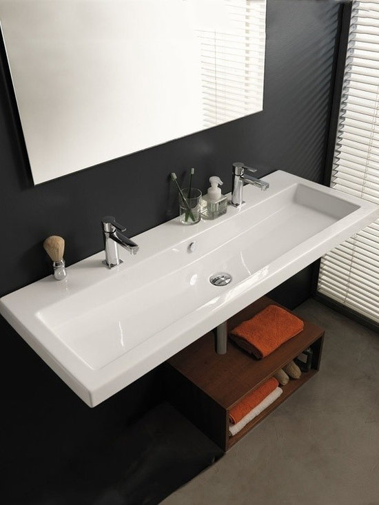 "Large Square Sink by Tecla - Can be wall mounted or set on top of vanity as a vessel sink. Created in Italy by Tecla. Width: 47.2"" Depth: 17.7"" Weight: 62 lbs."