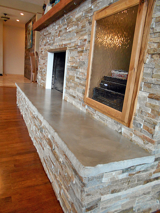Fireplace Hearth, 10' with split stone edge detail -