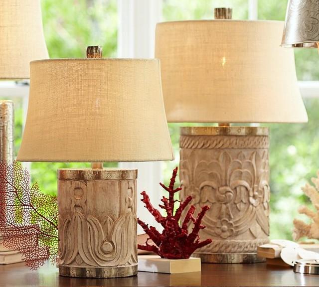 Rowan Carved Wood Table Lamp Base Contemporary Lamp