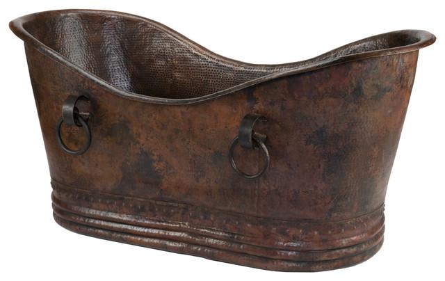 "72"" Copper Double Slipper Bathtub With Rings rustic-bathtubs"