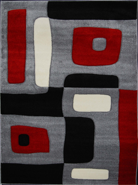 New Waves Grey Geometric Rug contemporary-rugs