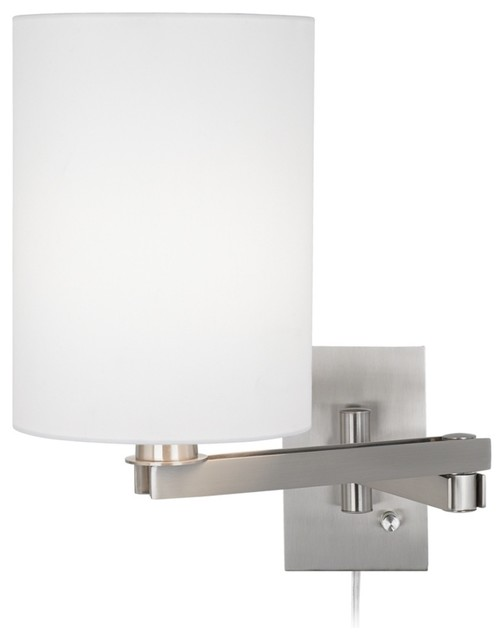 Possini Euro Design White Cylinder Shade Plug-In Swing Arm contemporary-swing-arm-wall-lamps