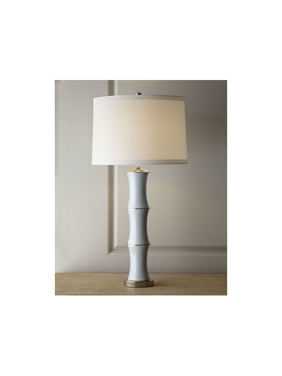 "Horchow - Smoke Lamp - Lighting takes on exotic allure with this bamboo-inspired lamp. A hand-stretched shade with nickel spider and finial add to its appeal. Porcelain and nickel body; nickel base. Polyester hardback shade. Three-way switch; uses one 150-watt bulb. 18""Dia. x 32""T. Imported."