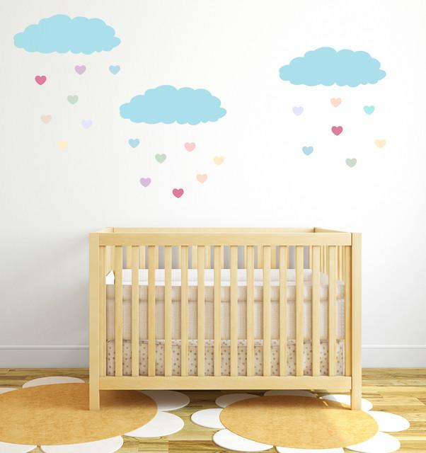 Cloud wall decals with heart rain drops modern nursery - Modern nursery wall decor ...