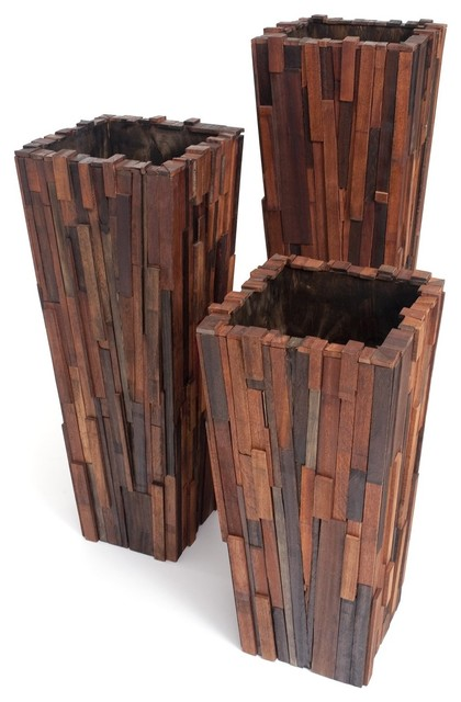 Salvaged Wood Planter Set Contemporary Indoor Pots And