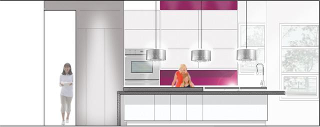 Modern White Kitchen Contemporary Interior Elevation