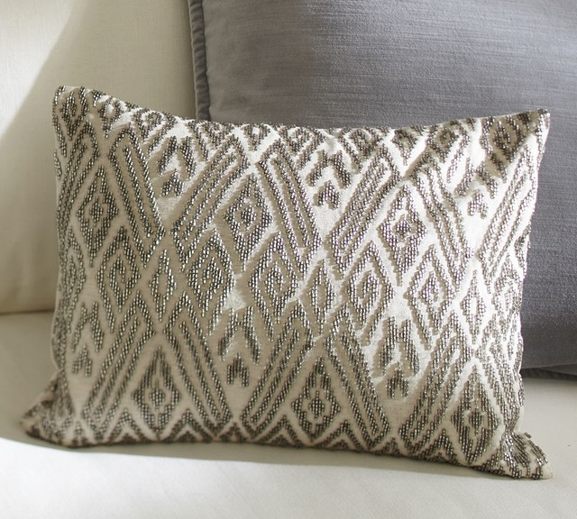 Decorative Pillows From Pottery Barn : Maddie Beaded Lumbar Pillow Cover - Traditional - Decorative Pillows - other metro - by Pottery Barn