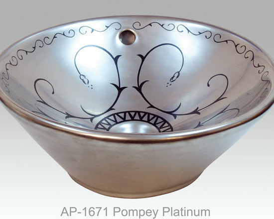"""Hand Painted Vessels Sinks by Atlantis - """"POMPEY PLATINUM"""" burnished platinum Shown on AP-1671 Valencia vessel sink O/D 16-1/2"""" Dia x 7"""" H center drain with and without overflow."""