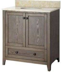 Foremost Brentwood 31-1/2 in. Vanity with Engineered Stone Vanity Top, Driftwood contemporary-bathroom-vanities-and-sink-consoles