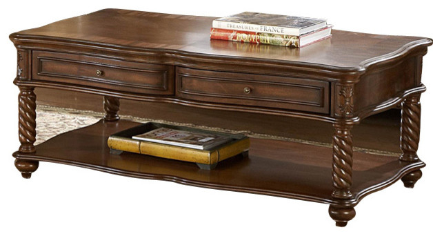 Homelegance trammel 3 piece coffee table set with working for Coffee table sets with drawers