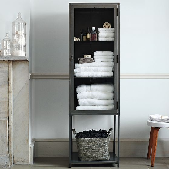 tall industrial metal bath cabinet modern bathroom cabinets and shelves by west elm