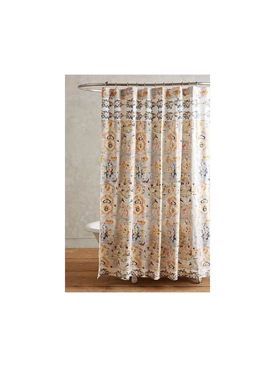 "Anthropologie - Orissa Shower Curtain - Twelve buttonholes. Cotton. Machine wash. 72"" square. Imported"