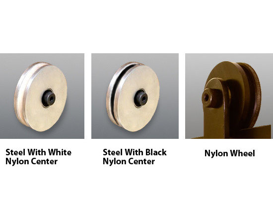 Barn Door Hardware - These are some of the standard wheels we offer for our barn door hardware. The clear wheel is new and can now be requested.