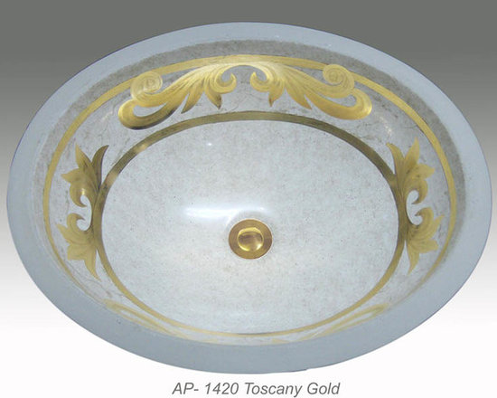 "Hand Painted Undermounts by Atlantis Porcelain - ""TOSCANY GOLD"" Shown on AP-1420 white Monaco Medium undermount 17-1/4""x14-1/4""available on burnished gold or platinum  on any of our sinks."