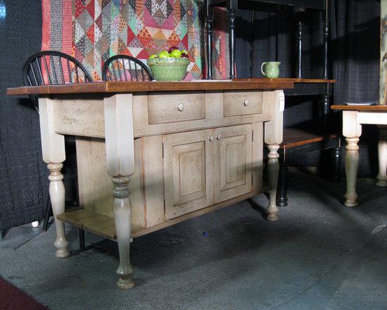 "Islands - 5'x42"" Island with cabinet & drawers, Pine top & Smokey gray base"