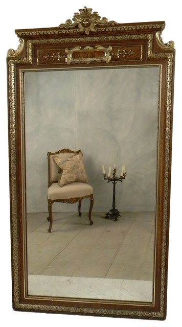 European 1930 Gold and Brown Ornate Mirror traditional
