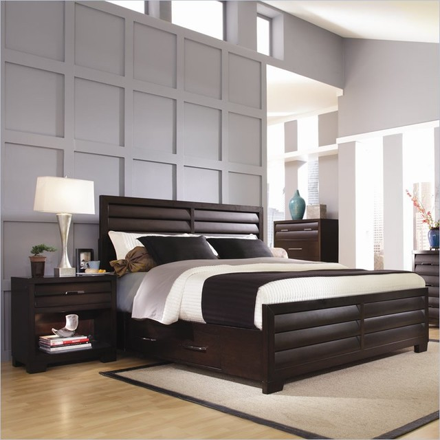 Storage Bed 2 Piece Bedroom Set In Sable Contemporary Bedroom