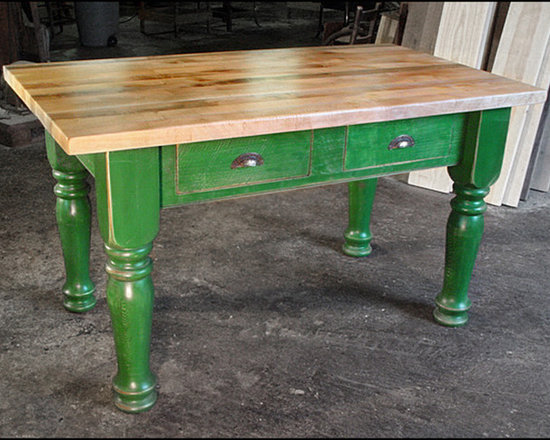 """Islands - 5'x3' Island: 2"""" thick maple top, Custom green bas, 5 1/4"""" turned leg with two drawers"""