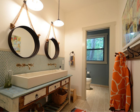 Sinks and Vanities - Custom concrete trough sink, sitting atop a funky base. Very cool kids bath!!